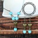 Heart and turquoise blue Asian pierced earrings and necklace 0301 _auktnP25Apr15 ★ ★ ladiesaxesalinecklace earrings natural stone formal wedding ドレスパーティータイムセールパワース tone, over 5,000 yen