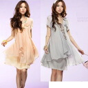 1 yen ★) soft loose chiffon one-piece 0004 (5000 yen or more customers only!) ★ ★ auktn_50off02P20Sep14 Tim Sale wedding dress party long sleeve women's spring new 5,000 yen or higher.