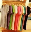 It is ★ auktn02P02Mar14 more than 5,000 yen of dress tunic leggings short sleeves wedding ceremony dress parties in spring latest 0592 simple colorful cut-and-sew T-shirt ★ Lady's