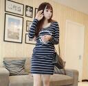 The stripes long sleeve vampires cutsaw 0602 _auktn_50offP25Apr15 ★ ★ women's spring new wanpiersleguipan wedding dress party, over 5,000 yen