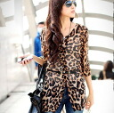 Sheer Leopard (Leopard) Cardigan-style chiffon tunic. Belt with 0620 _auktn02P12Oct14 ★ ★ Womens spring new vampiristunicleguipan wedding party dress long sleeve, more than 5000 Yen
