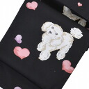 Nagoya-Obi なごやおび 9 inch silk large corporation proprietary black poodle dog, heart kmn08641