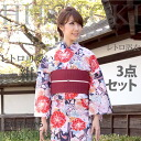 Yukata set women retro 3 point yukata belt clogs luxury cotton hemp ladies Navy Blue system be band red ykt0149m-s