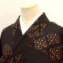 Yarn-dyed tsumugi used recycled silk black turtle ikat style Mint M-L size tsumugi gg5091