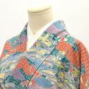 Tsumugi used recycled kimono pure silk multicolored clouds take Chaya Tsuji statement like L size tsumugi hh0035