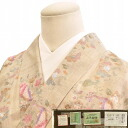 Gem ojiya tsumugi recycled kimono owned silk beige color floral stamp with sleeve 64 M size uncle and tsumugi hh0341