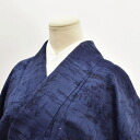 Tsumugi students used recycled silk just cloth summer specialties indigo dye Blue landscape pattern sleeve 62 M-L size yet tsumugi hh2034