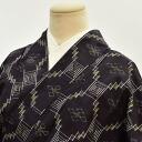 Tokamachi tsumugi used recycled silk just clothing Navy ikat statement like M size tsumugi hh1321