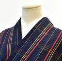 Oshima tsumugi discipline Oshima used recycled silk colored sleeve 63 M-L size tsumugi Navy Blue grid pattern hh2274
