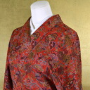 M size Komon monmokomon kimono pure silk used recycled kimono dark red color in Calico dd1490