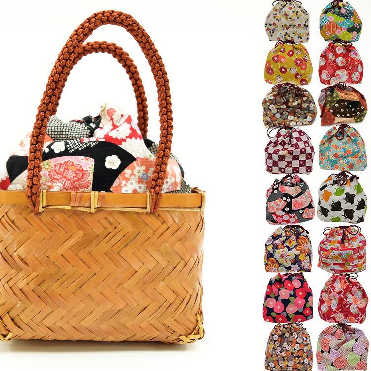 ◆楽天ひよこ商店-日本製レトロ巾着+竹カゴバッグセット