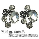 2 vintage Rose & color stone pierced earrings (one pair of )auktn!) fs2gm fs3gm