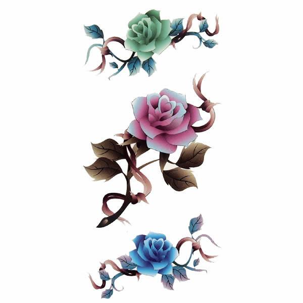 纹身封条彩色玫瑰!图片