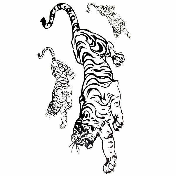 纹身封条黑色线虎!