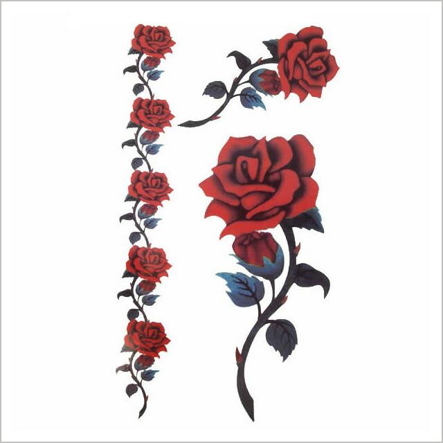 纹身贴纸混合红玫瑰 2