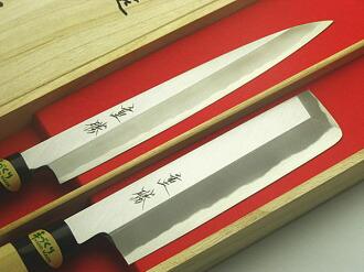 將軍命令日本刀木件設置與柳樹葉片刀 210 臼庭刀 165 禮物禮品套裝刀酒井茂勝