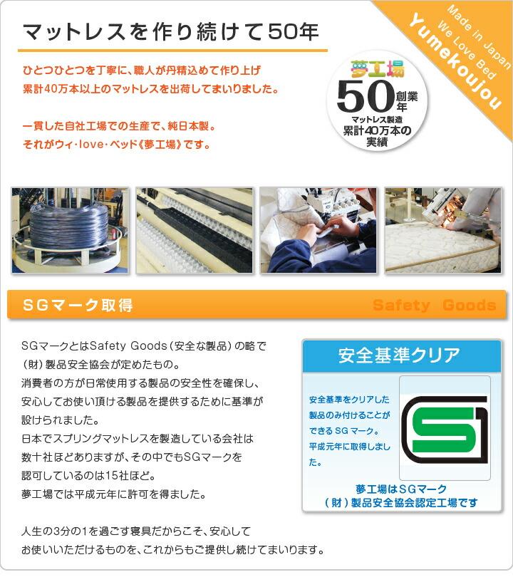 マットレスを作り続けて50年:SGマーク取得:夢工場の商品のほとんどは日本製です。