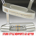 2 34 inches of 2 ■ Scottie Cameron studios-style Newport go getter stamp black / black MID grip custom putters