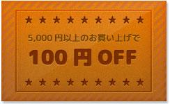 5,000円以上でのお買い上げで100円OFF!