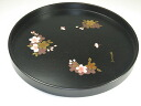 Wood 24 cm round tray cherry blossom 10P02jun13 10P01Sep13