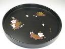 Wood 30 cm round tray cherry blossom