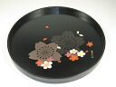 Wooden 24cm round tray flower design