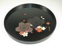 Wooden 24cm round tray flower design