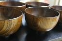 Set 木製汁椀京型渕黒箸 set [fs01gm] of a wooden bowl and chopsticks