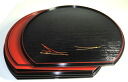 36 cm double-sided half-moon Zen Matsuba (black and red cloth) Bon, kaiseki-Zen, half-moon as trays, place mats, 10P02jun13 10P01Sep13.