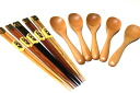 で! Five five spoon set + high-quality choice wood chopsticks sets natural color lucky bag trial set of the tree