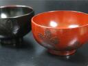 Choose from wooden dipping Bowl Sakura cherry blossom fabric laminating negoro, Akebono couple chopsticks with bags (juice Bowl / Bowl) pair Japanese plates