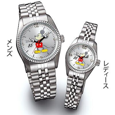 ミッキー85周年記念ウォッチ 天然ダイヤモンド腕時計 シルバー