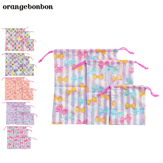 orange bonbon(オレンジボンボン)巾着3点セット
