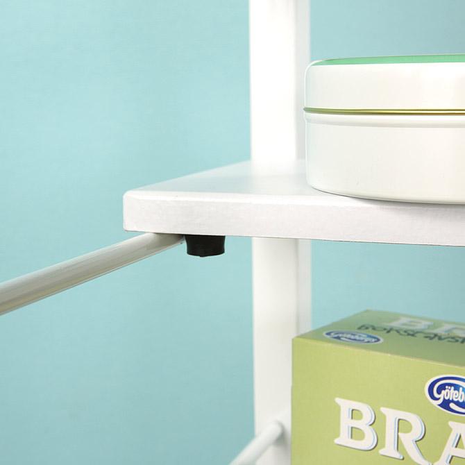 キッチンワゴン 幅53.5cm 棚板を引っ掛けて位置を自由に変更することが出来ます。