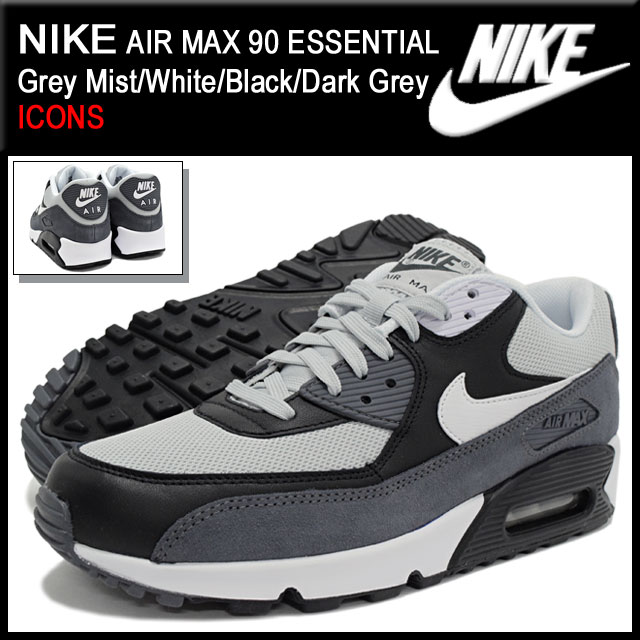 Nike NIKE sneakers Air Max 90 essential Grey Mist/White/Black/Dark Grey limited edition men\u0026#39;s (men\u0026#39;s) (ESSENTIAL ICONS Sneaker MENS, nike AIR MAX 90-shoes ...