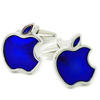 applecufflinks_アップルモチーフカフス「ブルー」