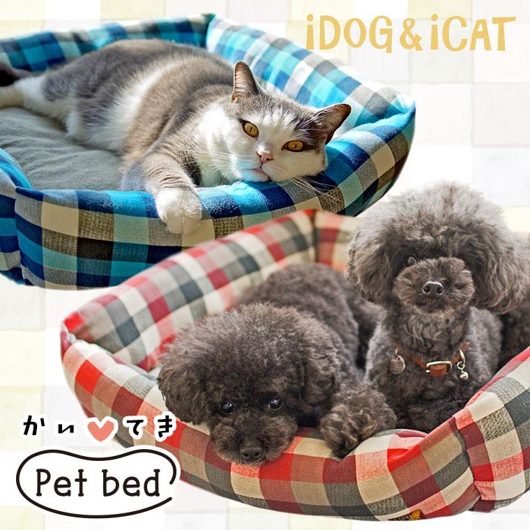 【犬 猫 ベッド】 スウェットチェックスクエアベッド Mサイズ 【クッション ソファ】:犬の服のiDog