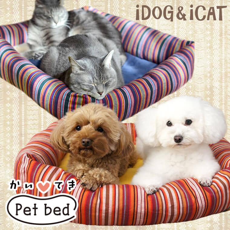 【楽天市場】【犬 ベッド 夏用】iDog アイドッグ ネイティブボーダースクエアベッド Mサイズ 【クッション ソファ】:犬の服のiDog