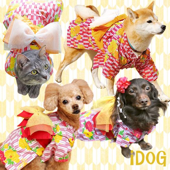 【浴衣 犬 服】 iDog アイドッグ リボン付き矢絣牡丹浴衣 【犬の服】:犬の服のiDog