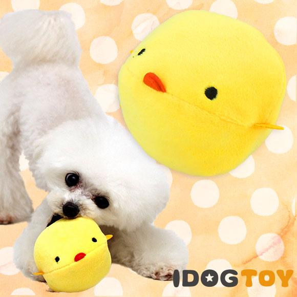 【犬 おもちゃ】 iDog アイドッグ オリジナル まんまるひよこボール カラカラ鈴入り 【ぬいぐるみ 布製】:犬の服のiDog