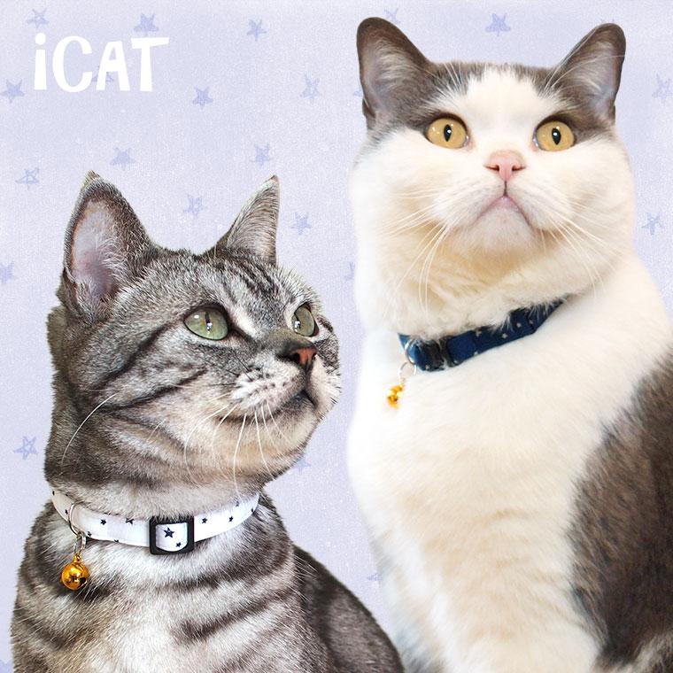【猫 首輪】 iCat カジュアルカラー スター 【国産 布製 安全】:犬の服のiDog