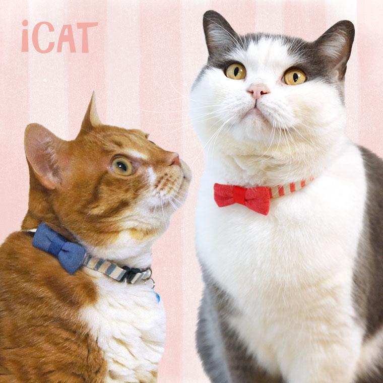 【猫 首輪】 iCat ラブリーカラー ボーダーガーゼ×デニムリボン 【国産 布製 安全】:犬の服のiDog