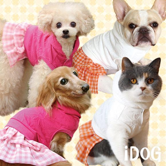 【ワンピース 犬 服】 iDog アイドッグ フラワーチェックスカートワンピ 【国産 犬の服】:犬の服のiDog