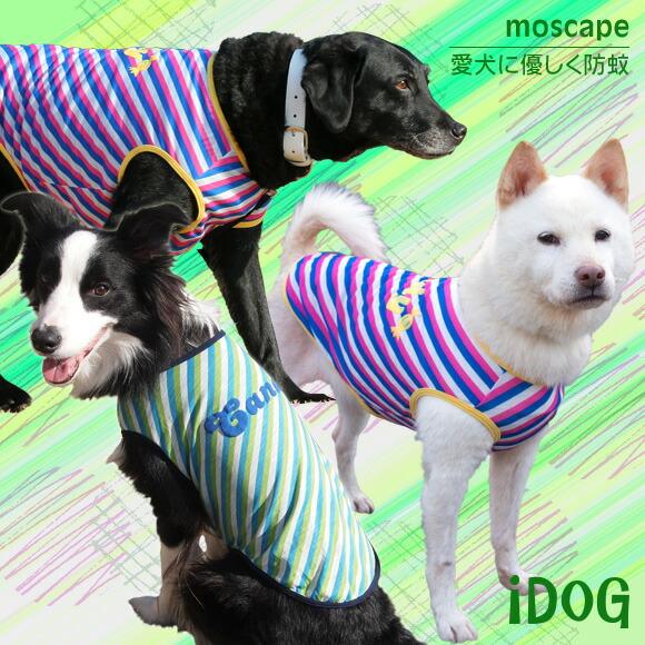 【虫よけ 犬 服】 iDog アイドッグ 中大型犬用 カラフルキャンディタンク moscape モスケイプ 防蚊 防虫 虫除け:犬の服のiDog