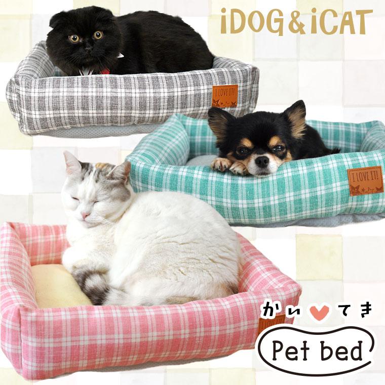 【犬 猫 ベッド】 iDog アイドッグ タータンチェックスクエアベッド Sサイズ 【クッション ソファ】:犬の服のiDog