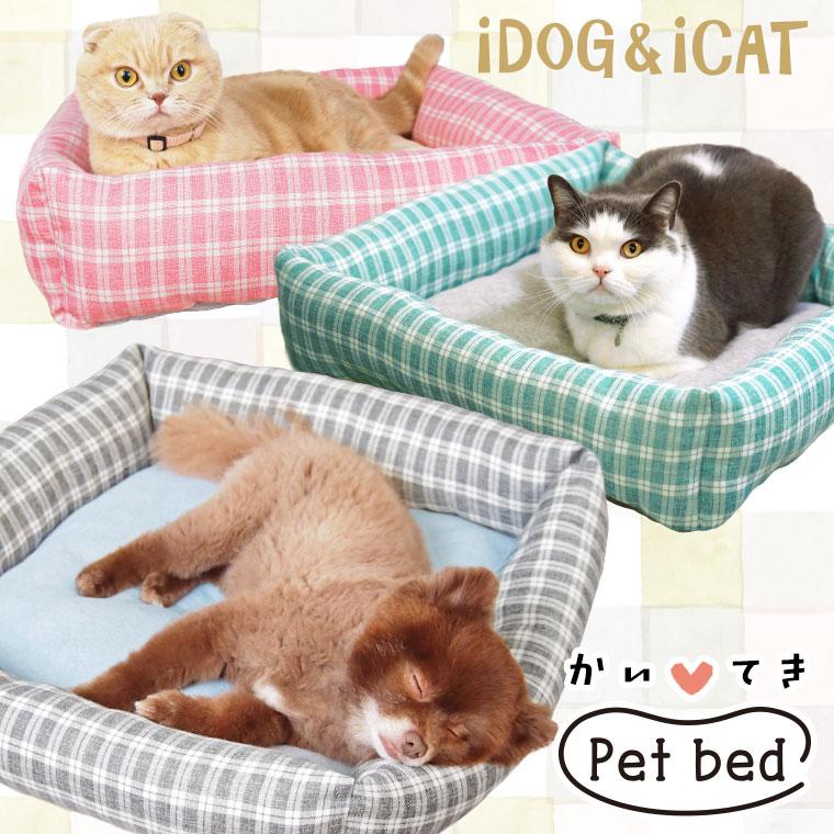 【犬 猫 ベッド】 iDog アイドッグ タータンチェックスクエアベッド Mサイズ 【クッション ソファ】:犬の服のiDog