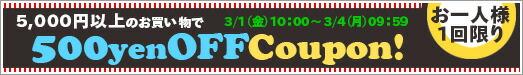 10,000円以上で500円OFFクーポン