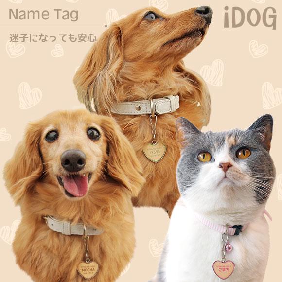 【迷子札 名札】 iDog&iCat ネームタグ【迷子札ハート型】クッキー 【ネームプレート ドッグタグ】:犬の服のiDog