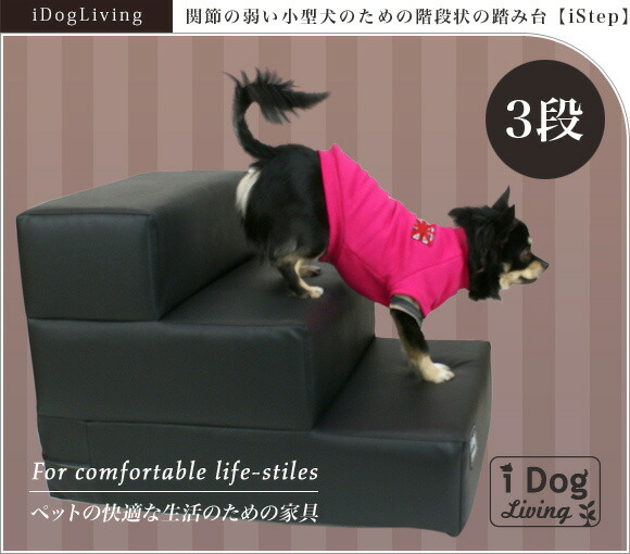 【犬用階段】iDog Living i Step アイステップレザータイプ 3段【ステップ ヘルニア予防】:犬の服のiDog