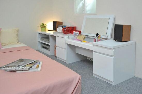 欧式衣柜梳妆台组合 书桌电脑桌组合 梳妆台兼电脑桌图片高清图片